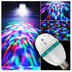 Светодиодная диско лампа LED патрон E27 220V ночник