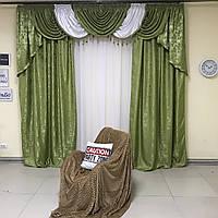 Готовые шторы из жаккарда с ламбрекеном в зеленом цвете (для спальни, гостиной)