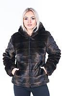 Женская шуба короткая с капюшоном и искусственным мехом под норку (цвет махагон) 39202, фото 1