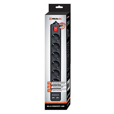Фильтр питания REAL-EL RS-6 PROTECT USB 1.8m Black, фото 2