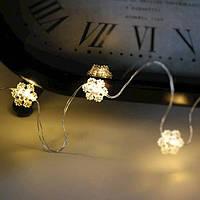 Гирлянда LED на батарейках Снежинки теплый свет 10 светодиодов 1 м. 45021