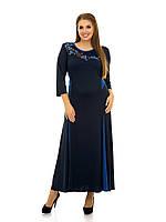 Платье расклешенное с аппликацией сакура   рр 48-76