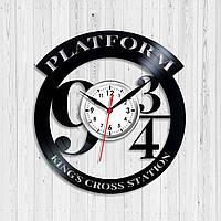 Гарри Поттер Платформа 9 3/4 Часы с виниловой пластинки Декор в комнату Подарок мальчику Кварцевые часы 30 см