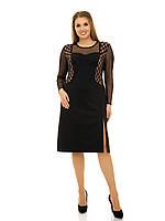 Красивое платье с вставками с сетки  рр 48-76