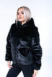 Жіночий чорний кожушок з штучного хутра норка з капюшоном (р. 42-56) 3919213, фото 8