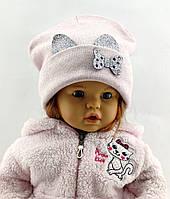 Оптом шапка детская с 50 по 54 размер ангора ушками шапки головные уборы детские опт, фото 1