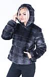 Коротка жіноча шуба графіт з штучного хутра норка з капюшоном (р. 42-56) 392037, фото 8