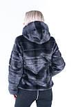 Коротка жіноча шуба графіт з штучного хутра норка з капюшоном (р. 42-56) 392037, фото 9