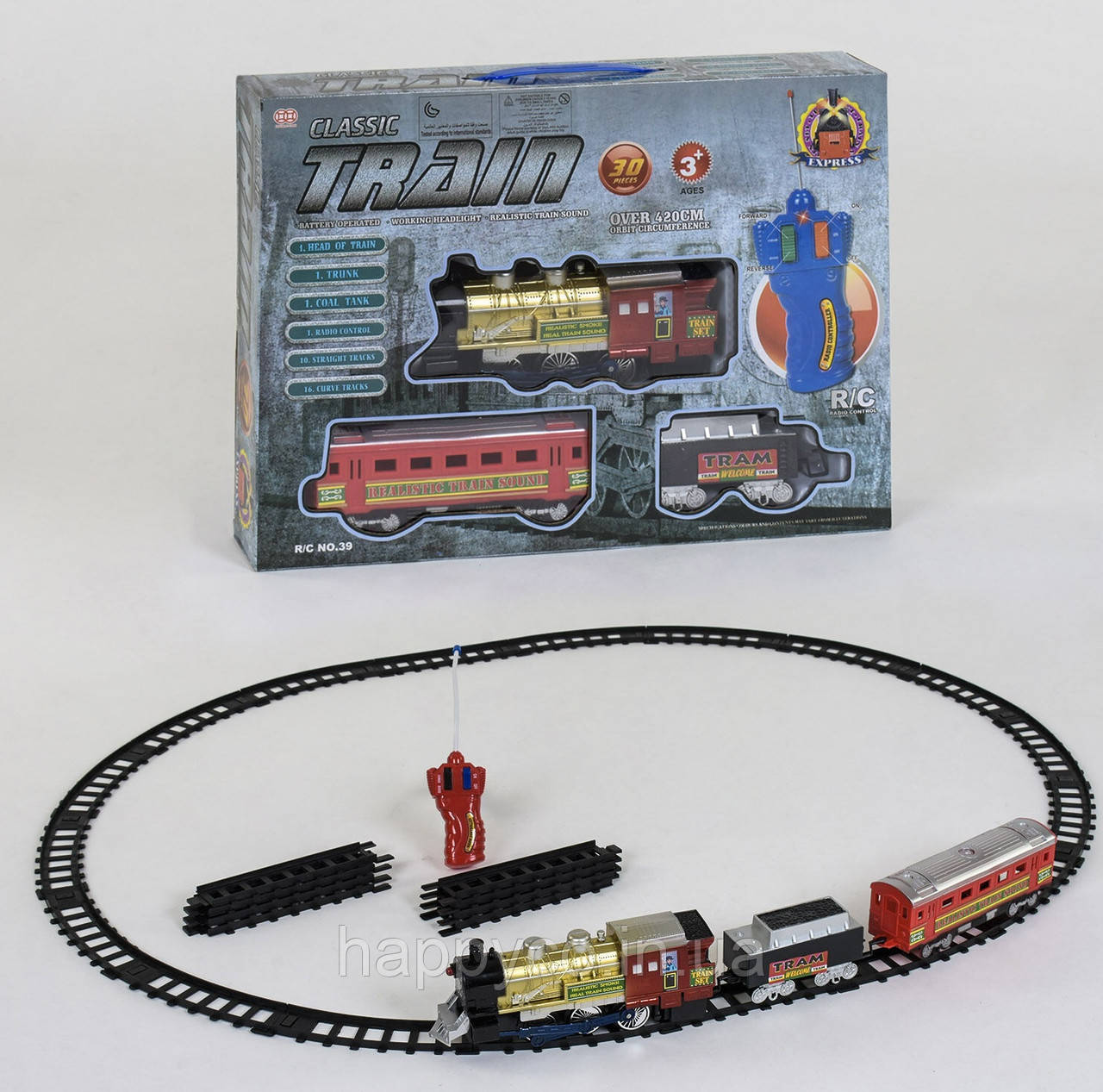 Железная дорога детская на р/у  30 элементов, свет, звук, длина путей 420см
