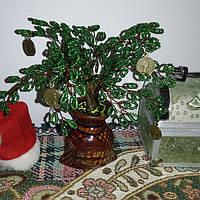 Денежное дерево из бисера ручная работа подарок на новый год