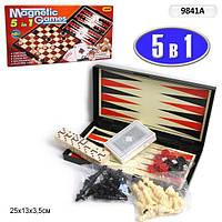 Игровой набор  5 в 1 Настольные игры шахматы,  шашки, карты и домино