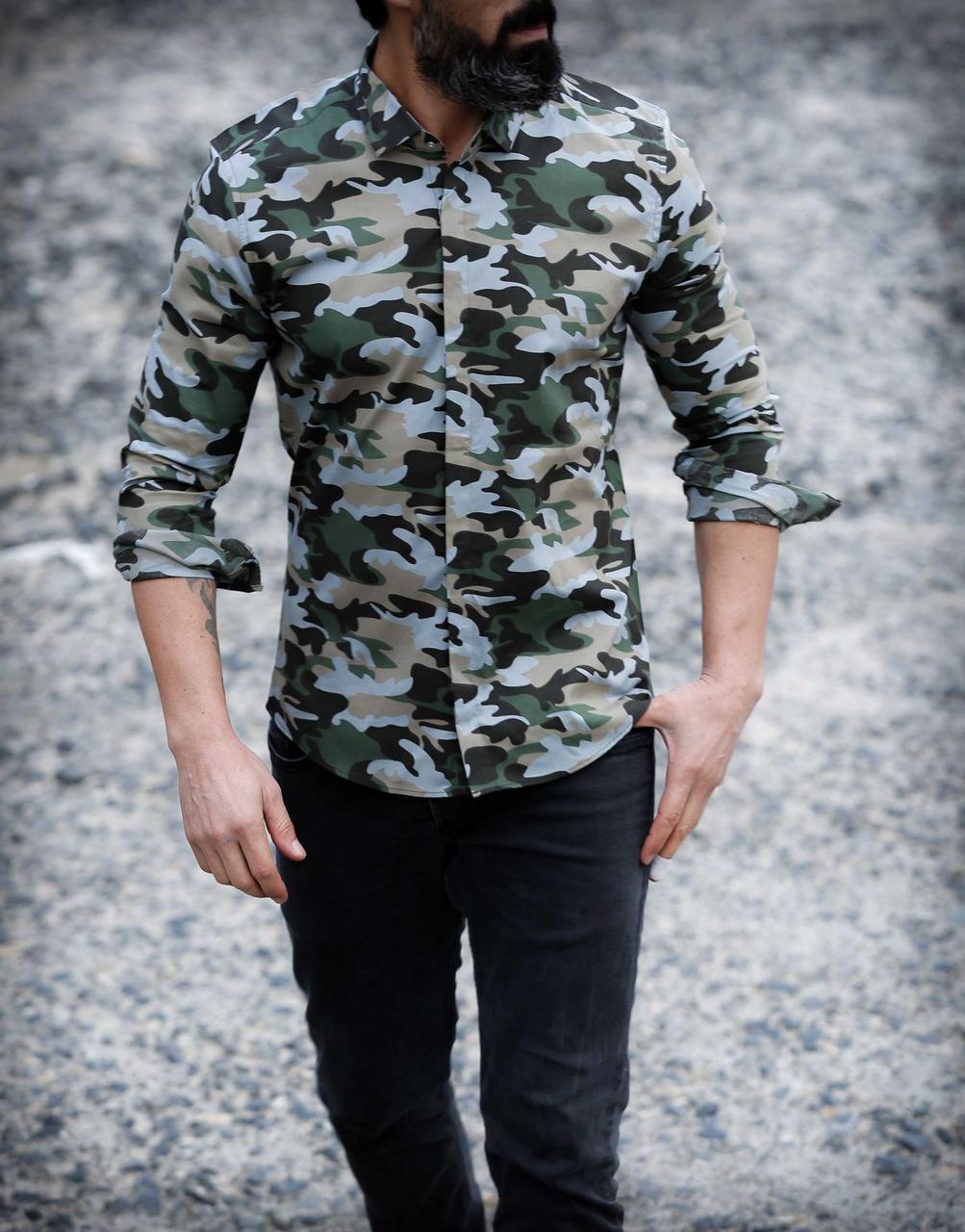 Стильная мужская рубашка хаки