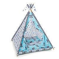 """Вигвам, детская игровая палатка с ковриком и подушками. Расцветка """"Медведи Blue"""""""