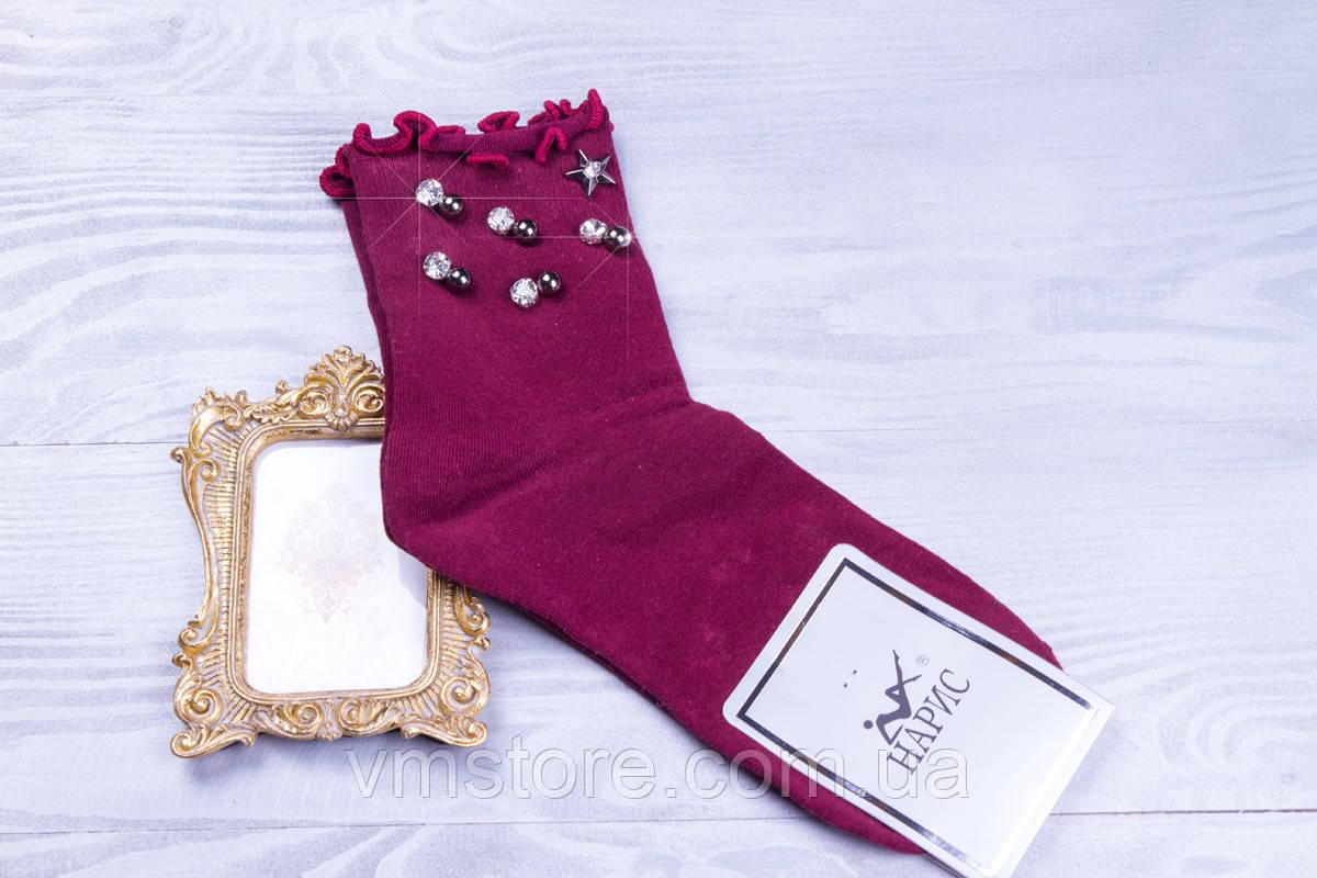 Стильные женские носочки со стразами и бусинами
