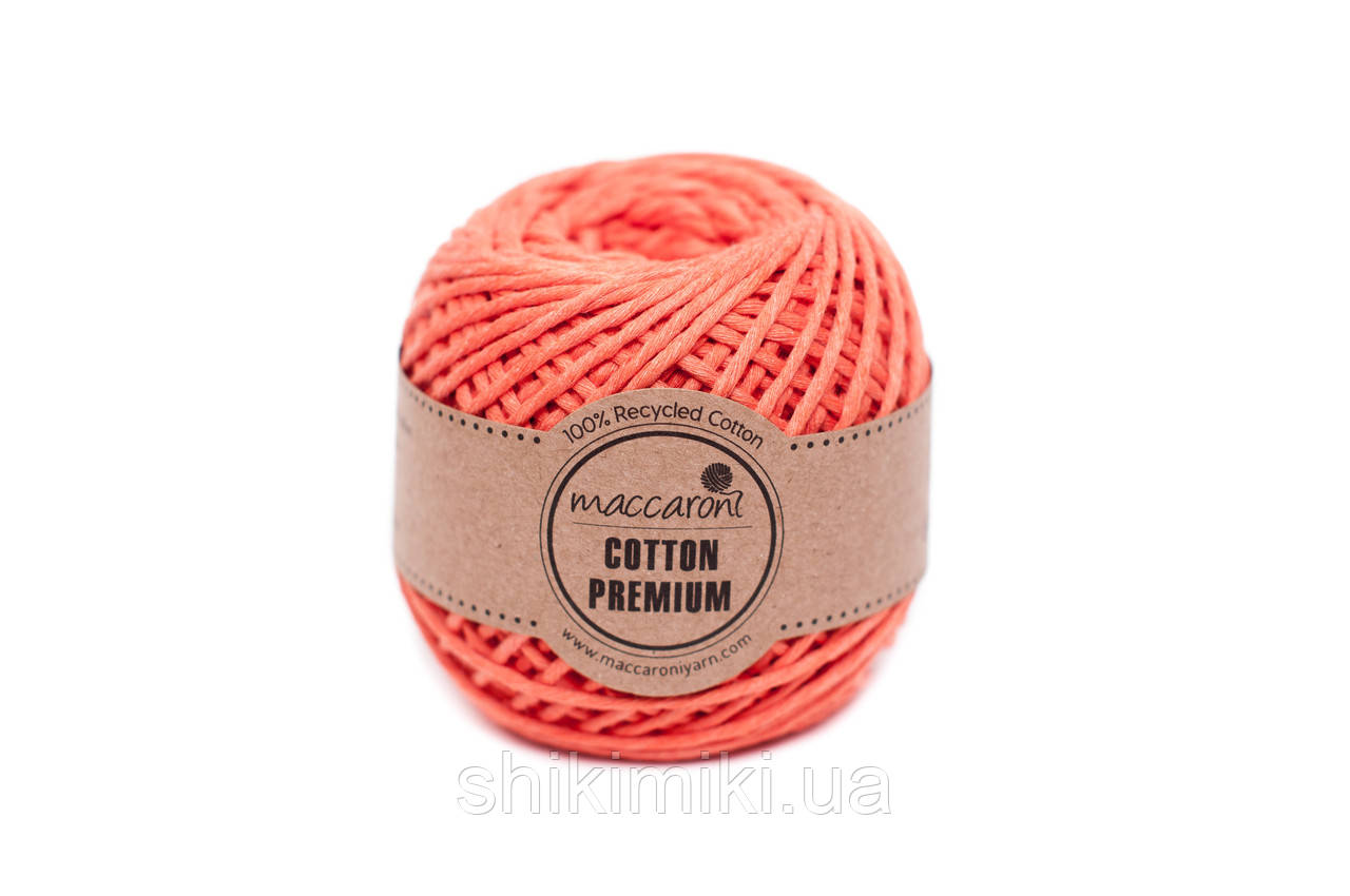 Эко шнур Maccaroni Cotton Premium 2 мм, цвет оранжевый