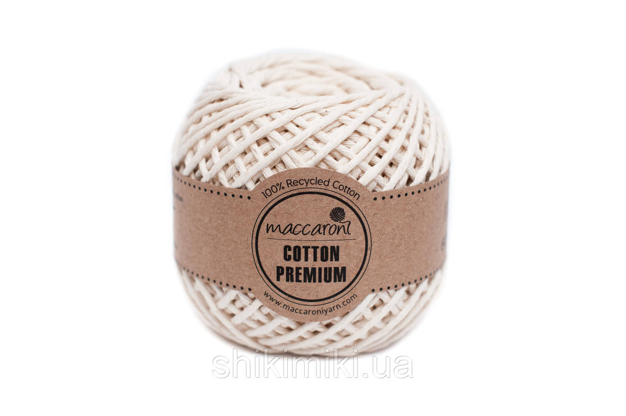 Эко шнур Maccaroni Cotton Premium 2 мм, цвет кремовый