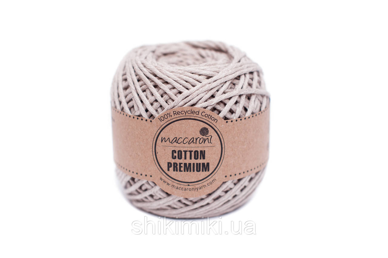 Эко шнур Maccaroni Cotton Premium 2 мм, цвет Бежевый