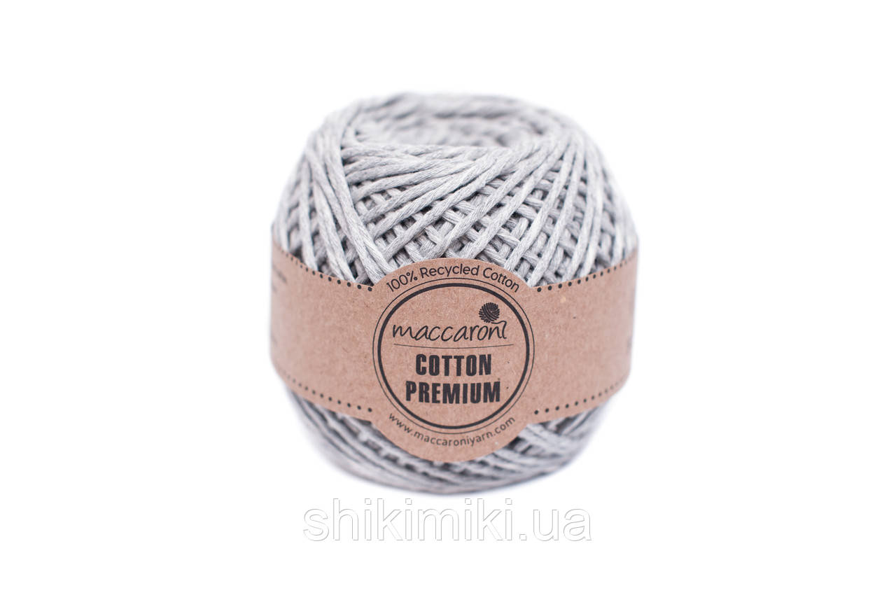 Эко шнур Maccaroni Cotton Premium 2 мм, цвет серый меланж