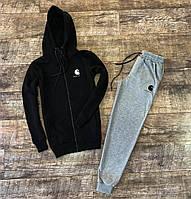 Мужской зимний спортивный костюм серый с черным