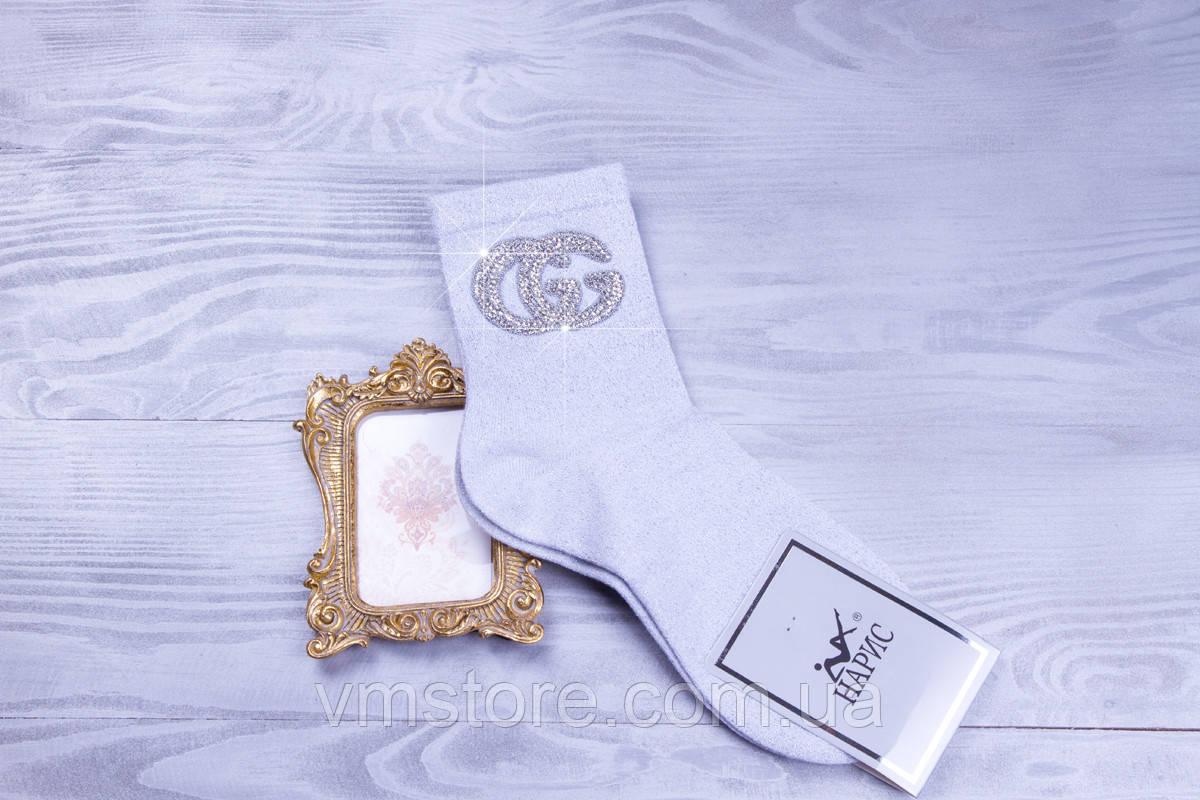 Стильные женские носочки Gucci белого цвета со стразами и бусинами