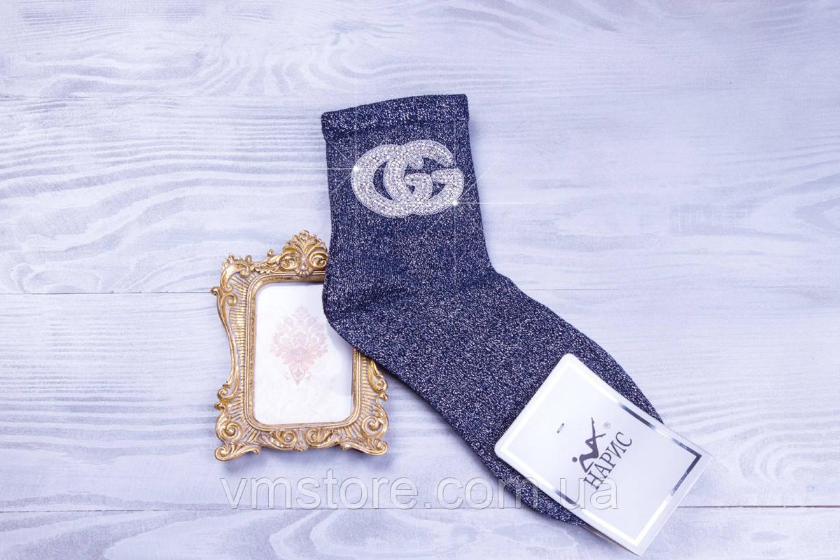 Стильные женские носочки Gucci со стразами и бусинами