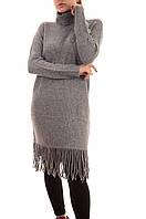 Трикотажные теплые платья оптом с бахромой Louise Orop