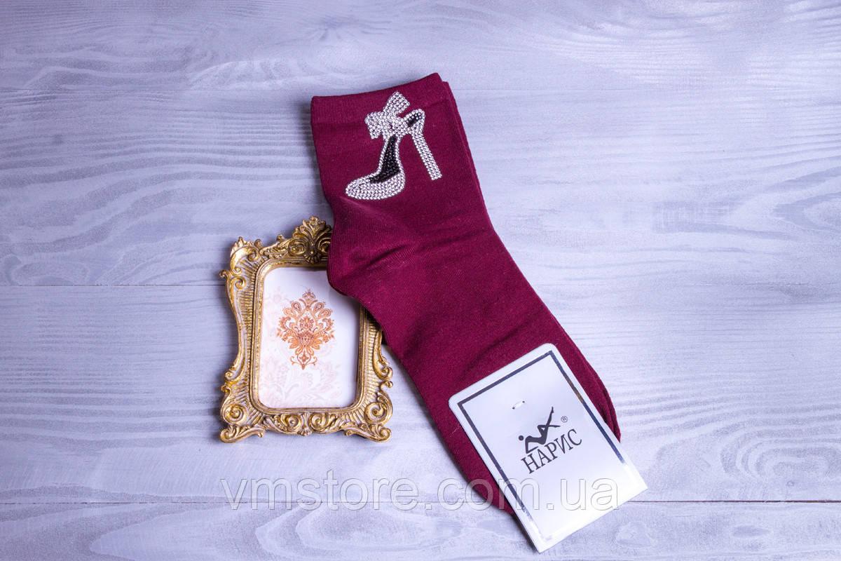 Красивые женские носочки со стразами и бусинами