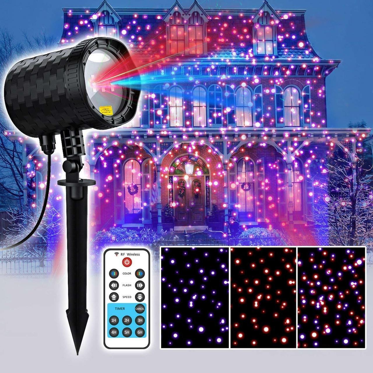 Уличный декоративный лазерный проектор Moving Garden Laser Light (синий/красный).