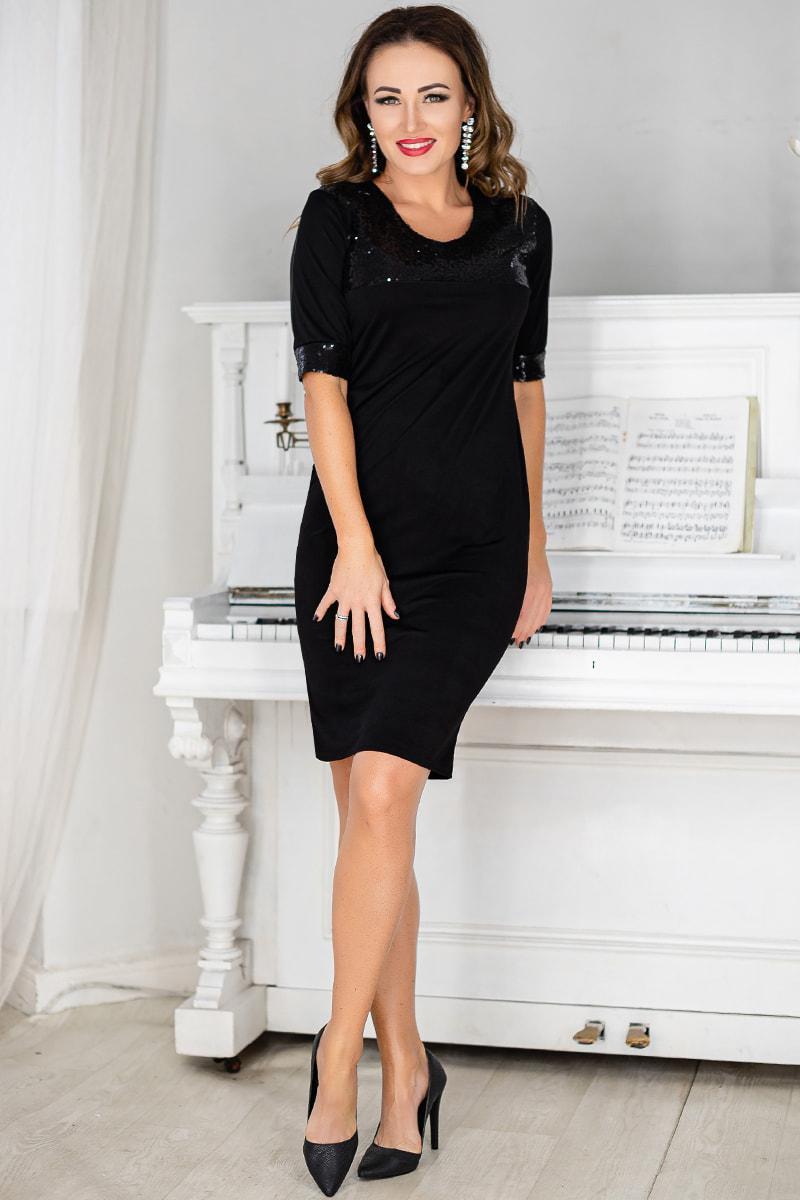 Чорне коктейльне плаття з паєтками Лаони