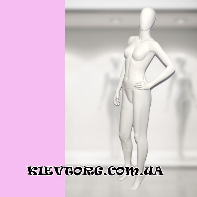 Манекен женский безликий белый глянцевый для магазина одежды. Новинка