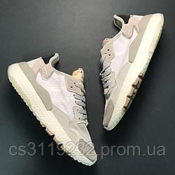 Мужские кроссовки Adidas Nite Jogger Whitе Grey (белые/серые)