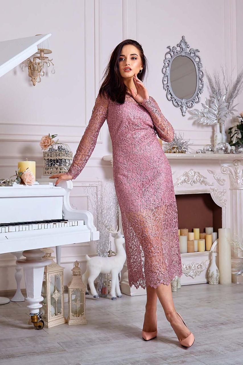 Длинное нарядное вечернее платье из гипюра на корпоратив