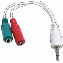 Аудио-кабель Cablexpert (CCA-417W) 3.5 mm 4-pin-3.5 mm stereo + mono microphone sockets 0.2 м, стерео, White