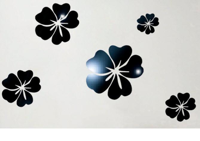Дзеркальні наклейки квіти пластикові, набір 5шт, від 7см до 15см чорне дзеркало