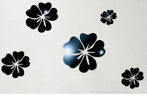Дзеркальні наклейки квіти пластикові, набір 5шт, від 7см до 15см чорне дзеркало, фото 2