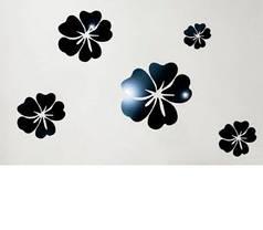 Дзеркальні наклейки квіти пластикові, набір 5шт, від 7см до 15см чорне дзеркало, фото 3