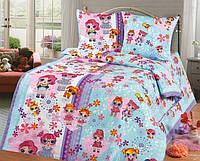 Комплект  постельного белья Детский Полуторный Куколки ЛОЛ 150х220 см(бязь - 100% хлопок)наволочка 2 шт.