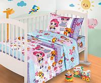 Комплект постельного белья для новорожденных Куколки ЛОЛ 150х100 см (бязь - 100%)