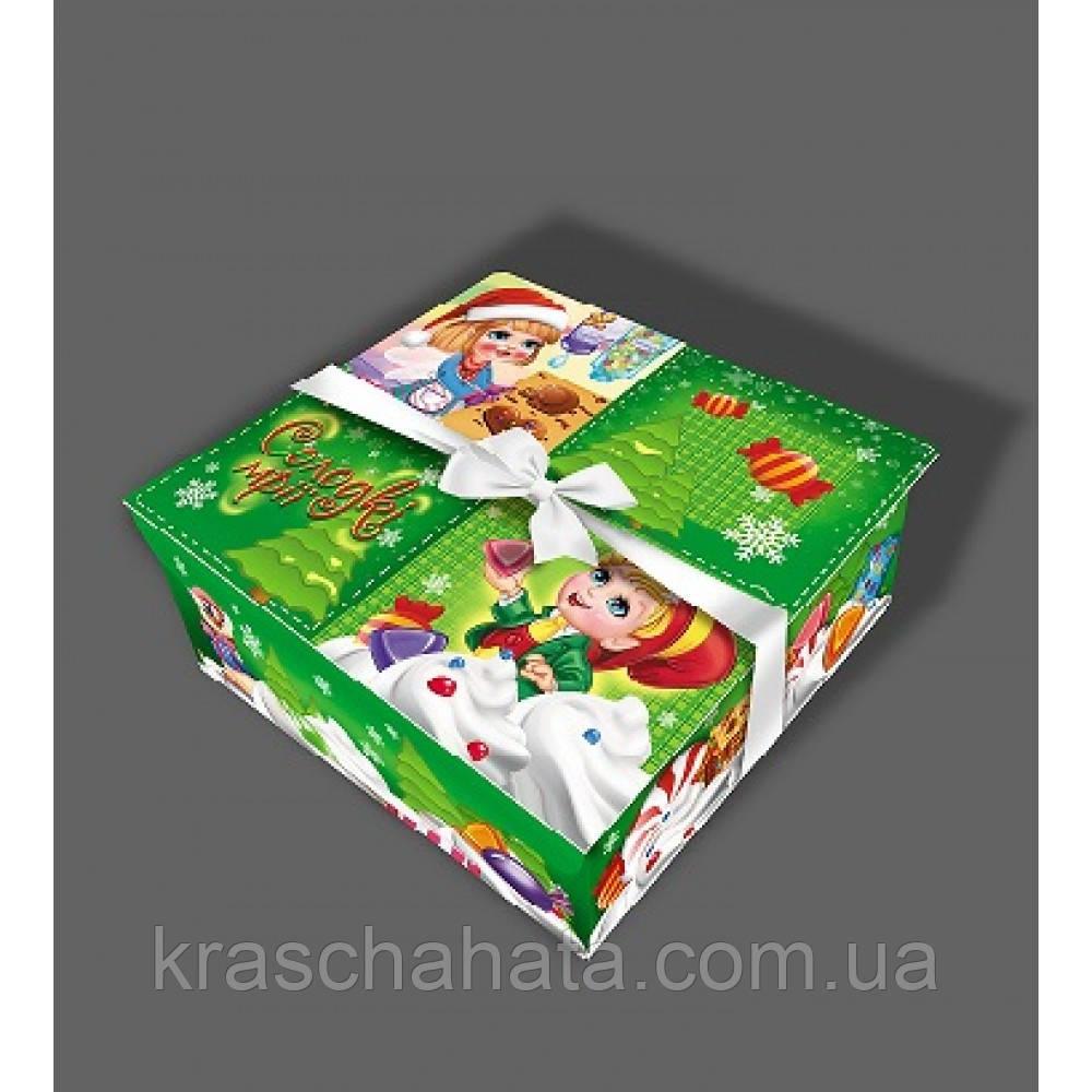 Коробка новогодняя, Шкатулка, 20х20х5,7 см, Картонная упаковка для конфет, 20х20х5,7 см