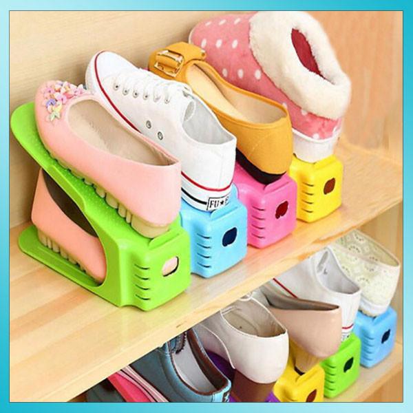 Двойные подставки для обуви Double Shoe Racks комплект 6 шт Разноцветные