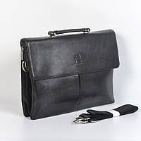 Мужская деловая кожанная сумка через плече (портмоне) - Код 9824-6 - (черная)