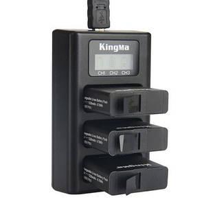 Зарядное устройство для GoPro 5/GoPro 6 на три аккумулятора с LCD дисплеем KingMa