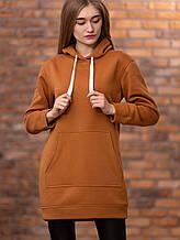 Теплое платье-туника с капюшоном