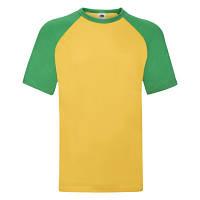 """Стильна чоловіча двоколірна футболка """"Бейсбол"""" жовте з зеленим"""