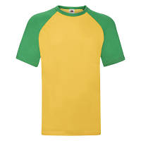 "Стильная мужская двухцветная футболка ""Бейсбол"" желтая с зеленым - M,L,XL,2XL,3XL"