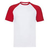 Летняя мужская футболка «Бейсбол» белая с красными рукавами - S, M, XL, 3XL