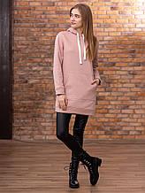 Однотонное платье-толстовка на флисе разные цвета