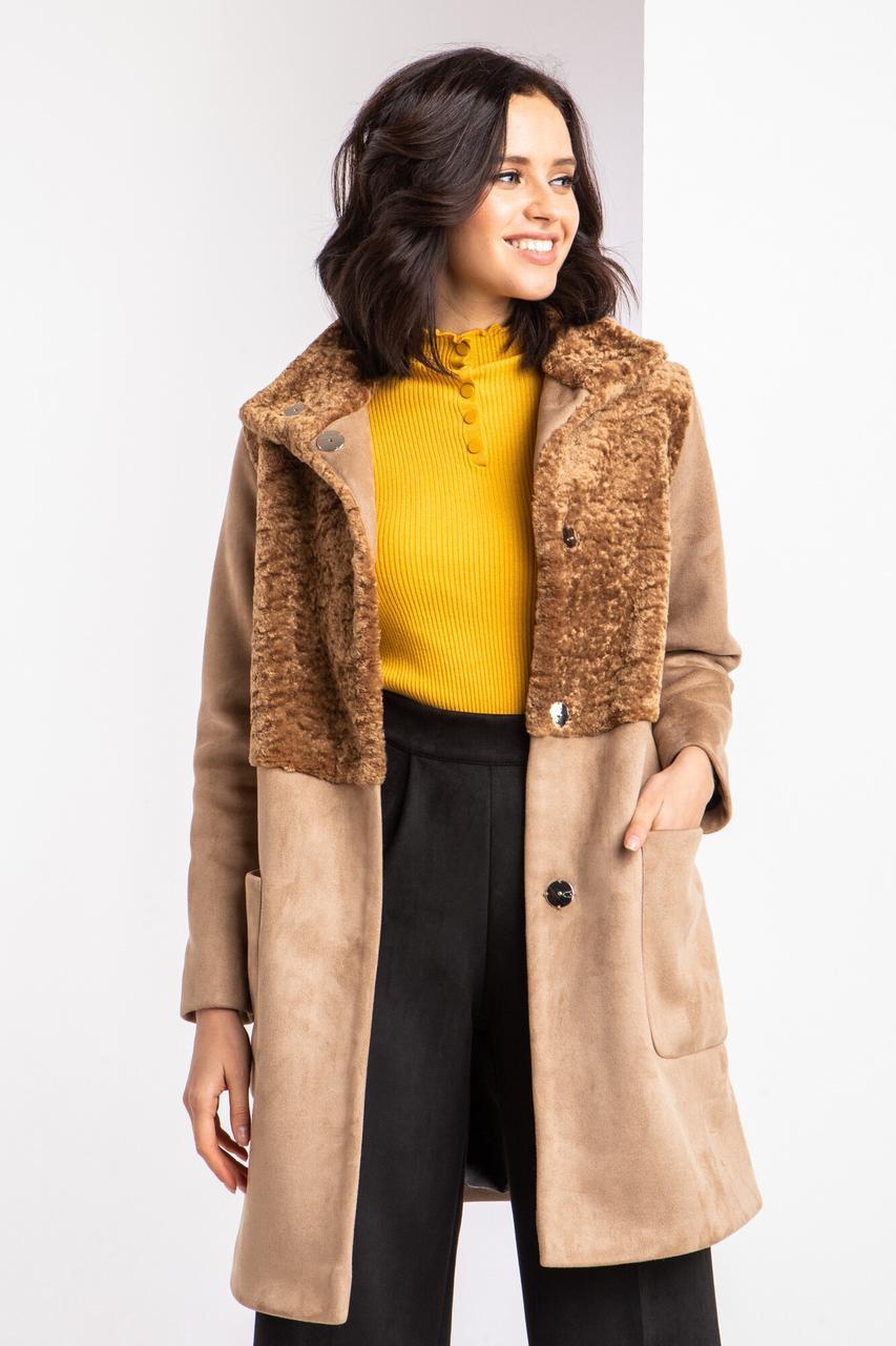Замшевое пальто TURRY на флисе бежевого цвета с каракулем