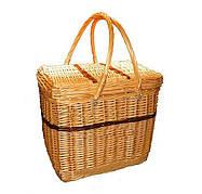 Плетеная корзинка для пикника c крышкой и ручками