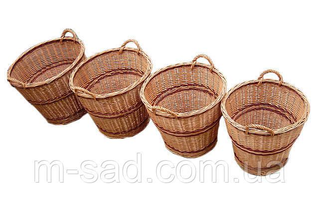 Набор корзин плетеных  из 4 шт с ручками